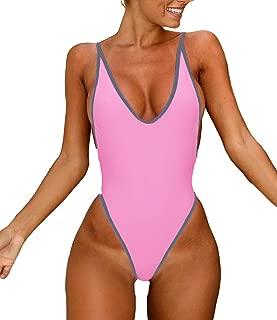 KIWI RATA Sexy Womens Monokini Deep V One Piece Backless Cheeky Swimwear Semi Thong Bikini