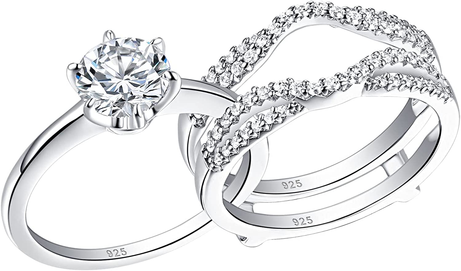 Wuziwen Wedding Rings for Women Round Solitaire Ri Max 66% OFF Cz Engagement Max 58% OFF