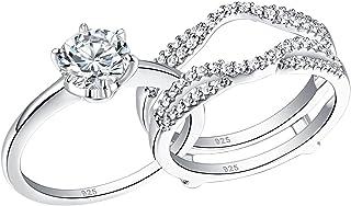 حلقه عروسی Wuziwen برای زنان یک نفره حلقه نامزدی دور Cz حلقه نقره سایز 4-13