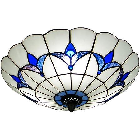 Rustic Leaves Pattern Beige Glass Dome Shade LED Ceiling Lights Flush Mount Loft
