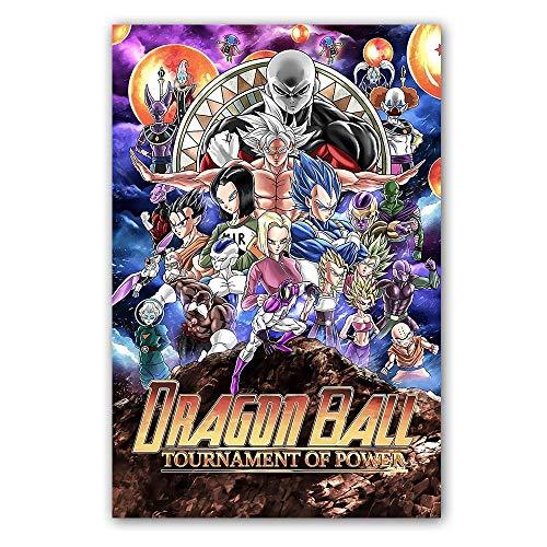Poster und Druck Classic Cartoon Anime Dragon Ball Super Saiyajin Goku Ultra Instinct Leinwand Malerei Wandbild Wohnzimmer 60 * 90cm
