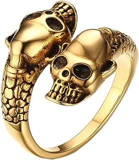 Men's Stainless Steel Double Head Skull Snake Biker Ring
