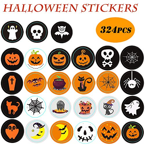 KAISHANE Adesivi autoadesivi di Halloween con Fantasmi di Zucca per Decorazioni per Feste Adesivi per Sacchetti di Biscotti 324 Pezzi