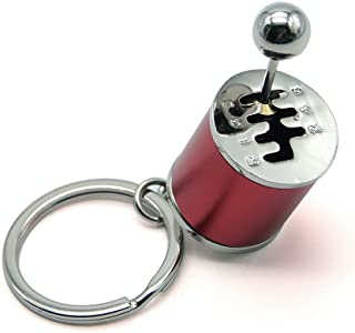 Waterwood Creative Auto Part Model 6 Speed Gear Box Shifter Keychain Key Chain Ring-Silver&Red