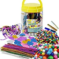 Mega Craft Jar Have endless hours of fun with this Mega Craft Jar. This giant plastic jar is packed full of all sorts of arts and crafts materials for your projects! Inside you will find pom poms, sequins, sparkle pipes, glitter heart shapes, tubes o...