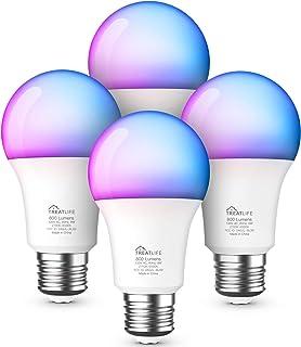 لامپ های هوشمند 4 بسته ، لامپ های تغییر رنگ RGB با الکسا ، دستیار Google ، Music Sync A19 LED Dimmable 9W 800 Lumen لامپ های هوشمند E26 برای مهمانی ، دکوراسیون تعطیلات ، روشنایی خانه هوشمند