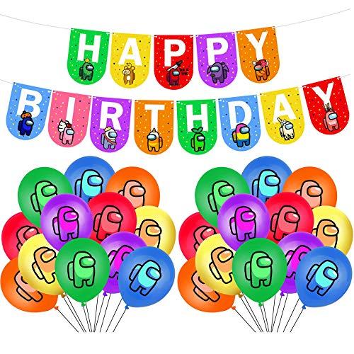 1 Unidades Entre Nosotros partido Suministros Entre Nosotros Globos Crewmate Todo Juego Ballons Feliz Cumpleaños Banner Fiesta Decoración Niños Niños Juguetes