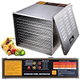 Yescom 1200W 10 Tray Commercial Food Dehydrator Stainless Steel Fruit Meat Beef Jerky Dog Treats Vegetable Dryer with Digital 15 Hour Timer