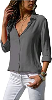 Comaba Womens Solid Colored Button Down Loose Plus Size Long-sleeve Top