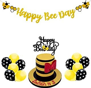 Mity rain Happy Bee Day Gold Glitter Banner & Happy Bee Day Cake Topper with 12Pcs Latex Balloons for Bumble Bee Themed Baby Shower Birthday Party Supplies Decorations