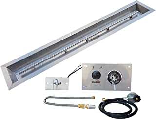 Stanbroil 48 x 6 inch Linear Drop-In Fire Pit Pan with Spark Ignition Kit Propane Gas Version