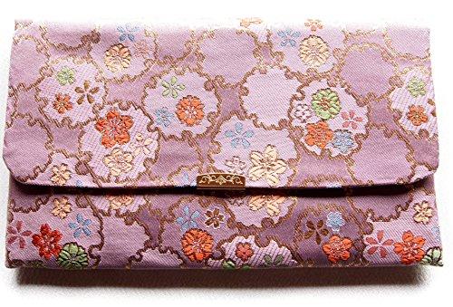 日本製 金封 ふくさ 袱紗 ( 念珠 数珠入れ 兼用) 金らんシリーズ モダン柄 (紫)