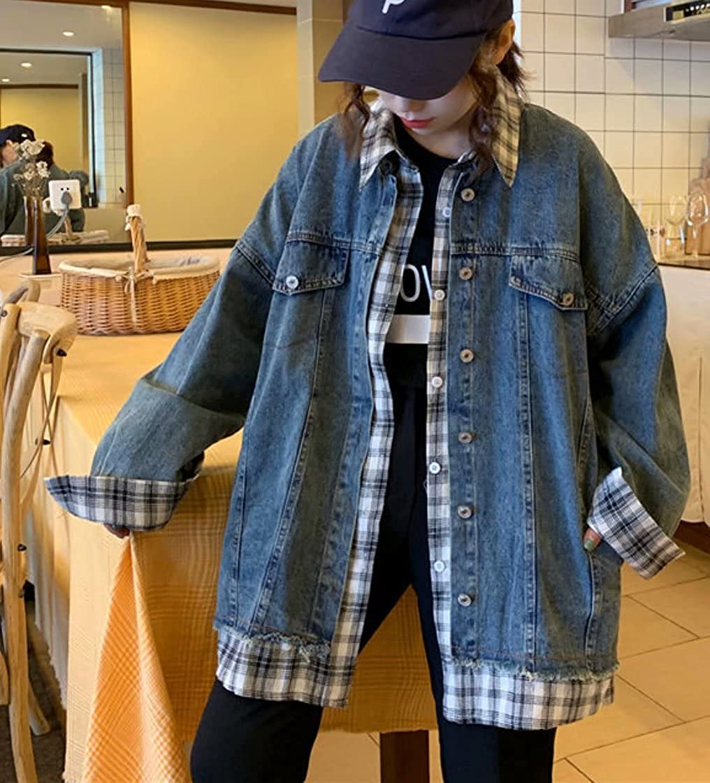 Womens Autumn Distressed Jean Denim Jacket Causal Plaid Patchwork Boyfriend Jean Coat Long Sleeve