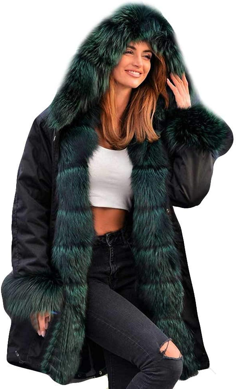 GreatGiftList Parka Hooded Coat, Women's Winter Thicken Faux Fur Hooded Plus Size Parka Jacket Coat