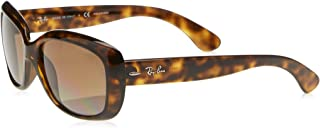 RAY-BAN Women's RB4101 Jackie Ohh Sunglasses, Light Havana/Polarized Brown Gradient, 58 mm