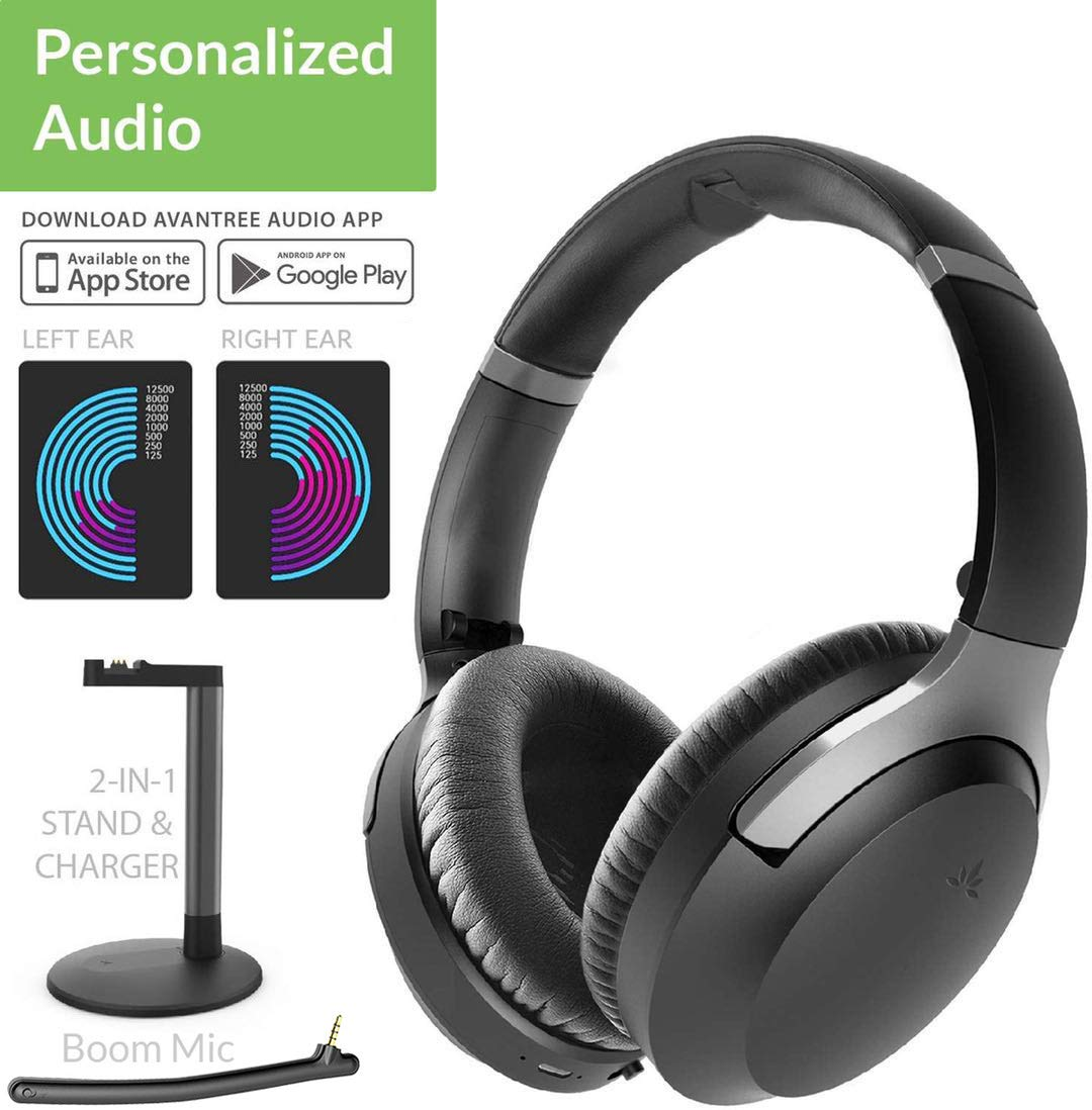 Amazon Com Avantree Aria Me Auto Optimized Audio Bluetooth Headphones Hear More Detail Aptx Hd Low Latency Noise Cancelling Wireless Headset With Detachable Boom Microphone Charging Stand For Tv Pc Phone Electronics