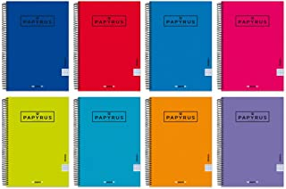 Unipapel 98443097 Pack of 5 Notebooks with Spiral and Hard Cover, 3.5 mm, Papyrus 04 - Uniclassic, 80 Sheets, 90 g, Assort...