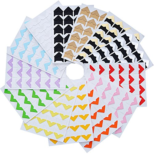 Hotop 312 Pieces Photo Corners Self Adhesive for DIY Scrapbook, Picture Album, Personal Journal, Dairy More (Multicolor A)