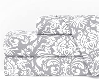 Egyptian Luxury 1600 Series Hotel Collection Damask Pattern Bed Sheet Set - Deep Pockets, Wrinkle and Fade Resistant, Hypoallergenic Sheet and Pillowcase Set - King - Light Gray/White