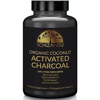 Schizandu Organics Activated Coconut Charcoal Capsules, 100% Pure Detox, Non GMO | 210 Pills | Use for Detoxification, Teeth Whitening, Digestive Health, Hangover Prevention