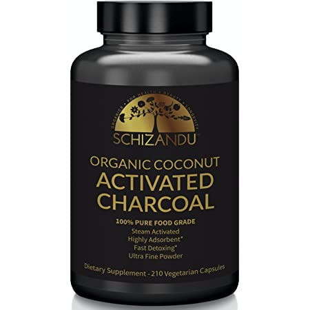 Schizandu Organics Activated Coconut Charcoal Capsules, 100% Pure Detox, Non GMO | 210 Pills | Use for Detoxification, Teeth Whitening, Digestive Health, Hangover Prevention