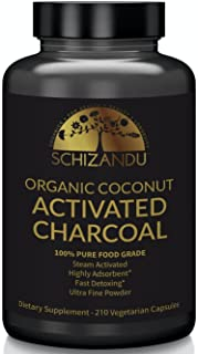 Schizandu Organics Activated Coconut Charcoal Capsules, 100% Pure Detox, Non GMO | 210 Pills | Use for Detoxification, Tee...