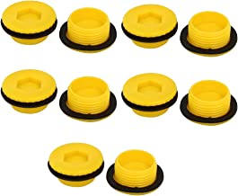 uxcell G3/4 Hex Socket Design Plastic Male Threaded Sealing Cap Yellow 10pcs