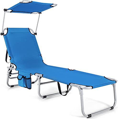 lowest Giantex Outdoor Folding Chaise Lounge, Portable Reclining Chair with 5 Adjustable Positions, 360?Rotatable Canopy discount Shade, Side Pocket, Patio Lounge Chair for Beach, outlet sale Lawn Sunbathing Chair (1, Navy) online