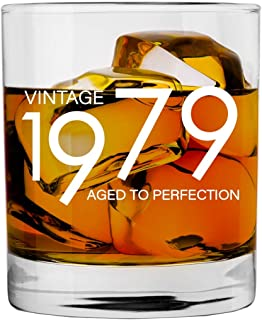 1979 40th Birthday Gifts for Men and Women Whiskey Glass   Bourbon Scotch Glasses 40th Bday Gift Ideas for Him Her Dad Mom Husband Wife   11 oz Whisky Old Fashioned Bar Glasses Lowball Decorations