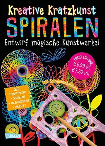 Kreative Kratzkunst: Spiralen: Set mit 7 Kratztafeln, Spirograph, Anleitungsbuch und Holzstift: Kinderbeschäftigung ab 5