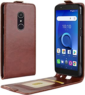 Alcatel 1X Case, Upper and Lower Cover Style Durable Crazy Horse Pattern Flip PU Leather Wallet Case for Alcatel 1X (Color : Brown)