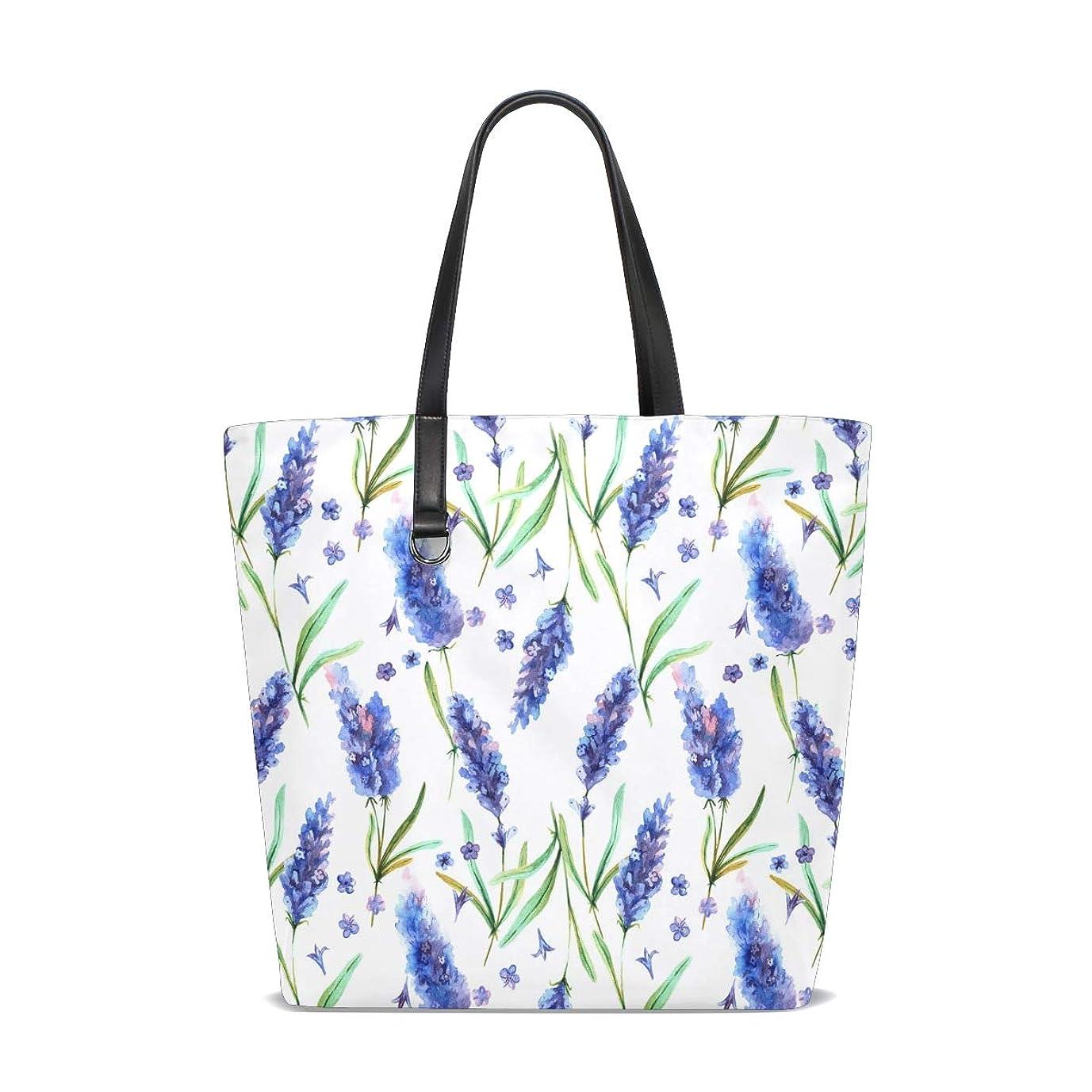 待って家禽デッキトートバッグ かばん ポリエステル+レザー ラベンダーの花 青 両面使える 大容量 通勤通学 メンズ レディース
