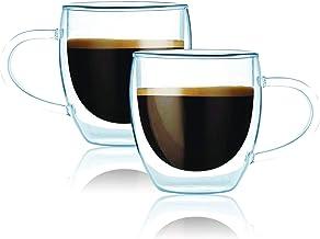 Gmark أكواب قهوة مجموعة من 2 (213 مل) ، كأس كأس كأس كأس زجاجي مزدوج للجدار ، أكواب قهوة معزولة للشاي ، لاتيه ، إسبرسو ، عص...
