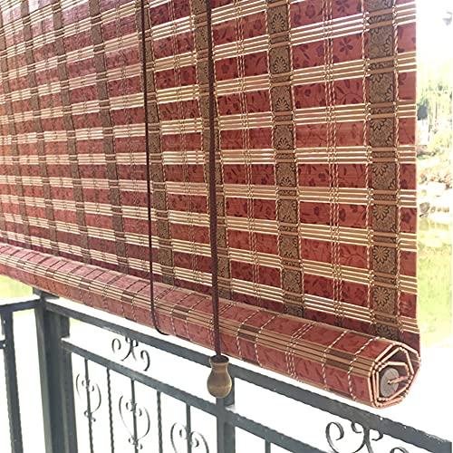 Persianas Enrollables y Estores Exterior Impermeable Cortinas Enrollables, Tejido de Bambú Natural Persianas Enrollables con Filtro de Luz para Porche Gazebo Pérgola, 70cm/90cm/110cm/130cm de Ancho