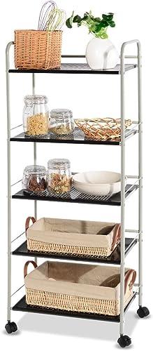 "new arrival Giantex Steel Utility Cart Storage Shelf Rack Mobile Casters Metal Mesh discount Commercial Kitchen Warehouse Garage sale Bathroom Capacity Shelving Shelves Organizer W/Lockable Rolling Wheels (19.5""L) outlet online sale"