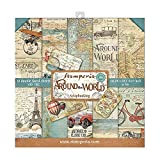 STAMPERIA Around The World-Bloc de Papel (10 Hojas, 20,3 x 20,3 cm, Doble Cara), Multicolor, 20.3 x...