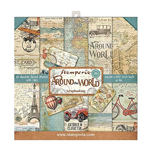 STAMPERIA Around The World-Bloc de Papel (10 Hojas, 20,3 x 20,3 cm, Doble Cara), Multicolor, 20.3 x 20.3 (8 x 8)