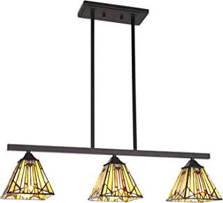 VINLUZ 3 Lights Kitchen Island Chandeliers Lighting Modern Tiffany Style 6-inch Stained Glass Shade, Vintage Hanging Pendant Lights Mission Ceiling Light Fixtures for Dining Room Living Room Bedroom