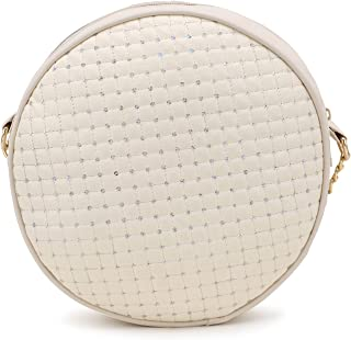 SMULY PU Embroided New Latest Stylish Trendy women & girls Round sling Bag For Cute Girls & Women's