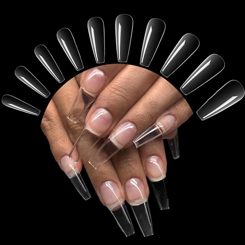 12 Stück Acryl Falsche Künstliche Nägel Tips, Transparent Kunst Gefälschte  Nägel Tipps Fake Coffin Nail Tips für Damen