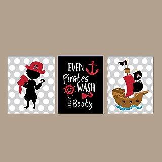 Silly Goose Gifts Lot de 3 décorations murales pour Salle de Bain Motif Pirate