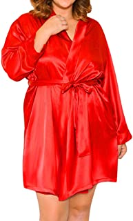 Ausexy Women Sexy Lingerie Plus Size Silk Lace Robe Dress Babydoll Nightdress Nightgown Sleepwear