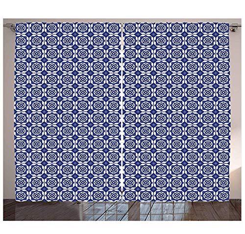 MUXIAND Hollandse Gordijnen Delfts Stijl Geometrisch Patroon met Ruiten en Zeshoeken Holland Design Woonkamer Slaapkamer Raam Drapes Navy