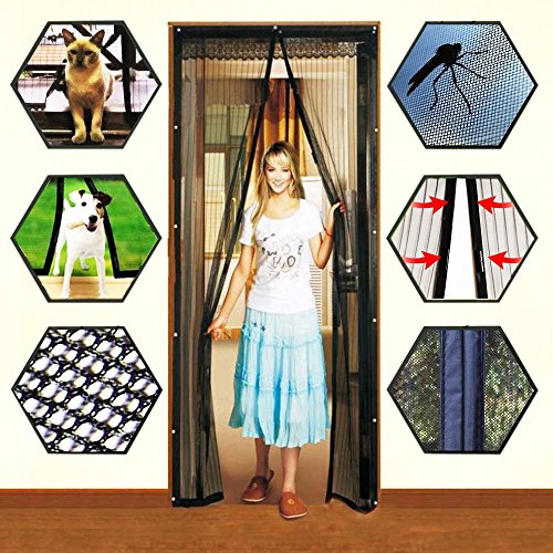 Hands Free Mesh Screen Net Door with Magnets Anti Mosquito Bug Magic Curtain Mesh Keep The Bug Insect and Fly Out fit up to 38' x 82' Inchs Door Or Window by Cafolo