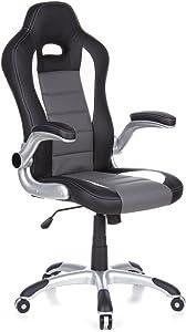 hjh OFFICE 621710 Sedia da gaming/Sedia girevole RACER SPORT similpelle nero/grigio, schienale alto, ideale per giocatori, racer, sedile da corsa, meccanismo oscillante,braccioli ribaltabili verso l'alto