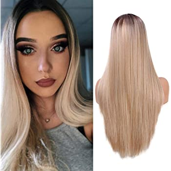 Parrucca sintetica mista biondi lunghi per donne, ombre Brown Root dritto 55,9 cm(4/613/30)