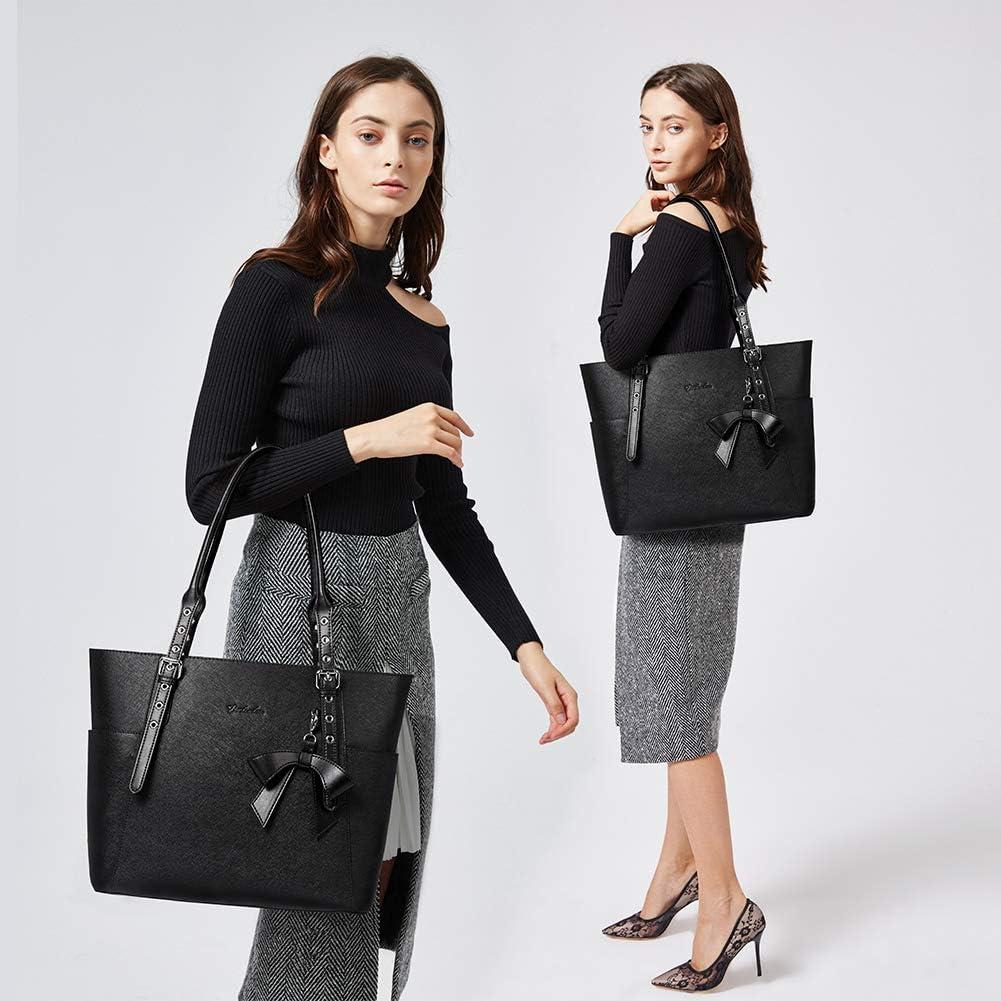 BOSTANTEN Femme Cuir Veritable Sac à Main Sacs bandoulière Grande Sac d'épaule Cabas Porte-Document 15.6 inch Laptop Noir