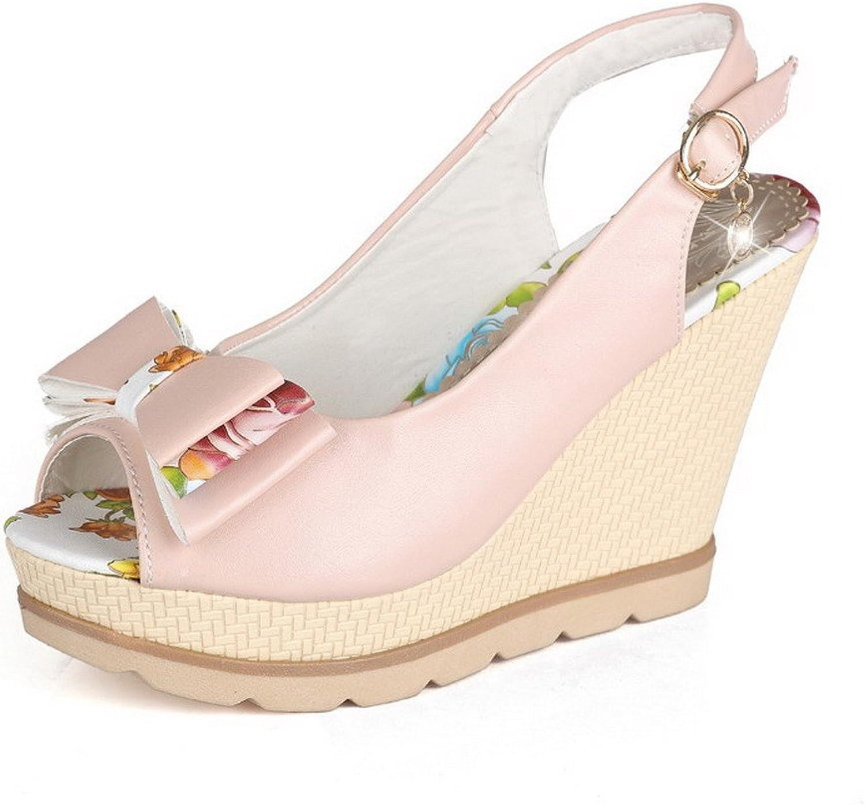 WeenFashion Women's Metal Peep Toe High-Heels PU Assorted color Sandals