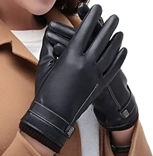 SGJFZD Gloves Winter Warm Touch Screen Outdoor PU Leather Gloves Driving for Women Windbreak Gloves (Color : Black, Size : OneSize)
