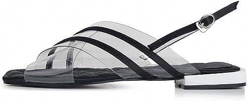 NSX Sandales Plates Transparentes PVC Mot Bouton mode Romaine Fées Plates Chaussures